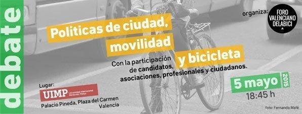 Cartel de la jornada Políticas de ciudad, movilidad y bicicleta